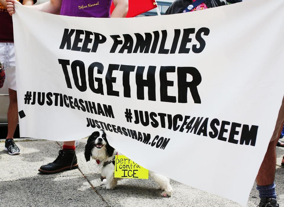 BOSTON, MA - 06/24/2018 A dog peaks behind a sign held by rally participants at a demonstration organized by Movimiento Cosecha. Many gathered in front of the Blessed Sacrament Building to rally against children are being held by ICE and separated from their families. Erin Clark for the Boston Globe